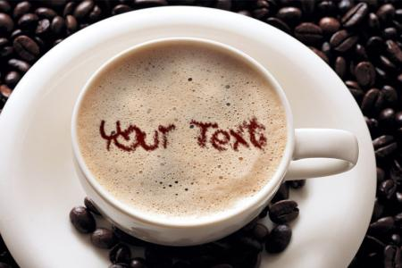 Put your  text on a coffee cup.
