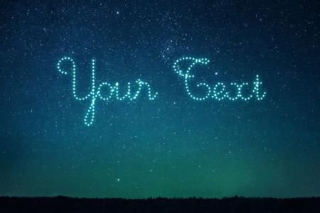 Write stars text on the night sky