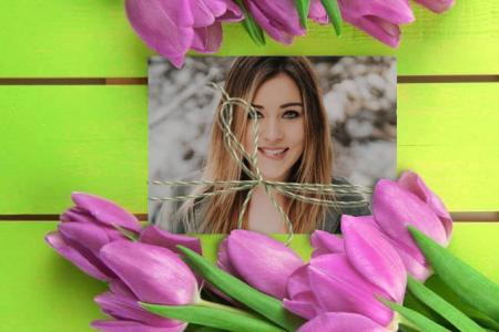 Purple tulips photo frame