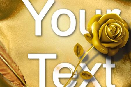 Write text on golden roses background