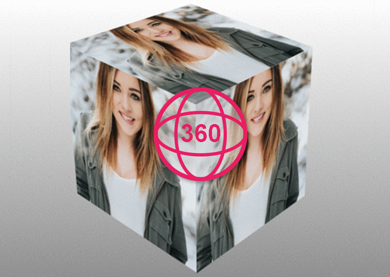 Create a 360 degree photo in the cube